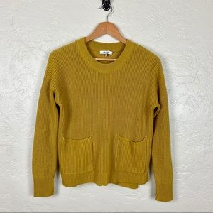Madewell Patch Pocket Pullover Sweater Mustard